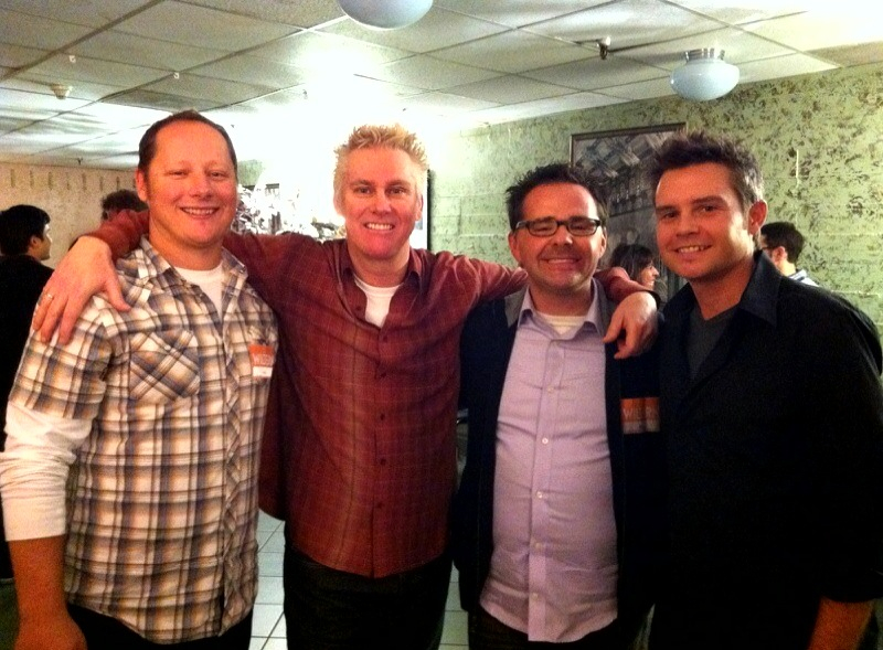 Steve Mazan hangs with comedians Brian Regan, and Gary Cannon, who appear in the documentary Dying to do Letterman.